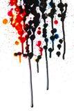 Bunter Tintenfleck auf Weiß Stockfoto