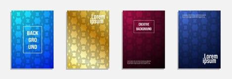 Bunter und moderner Abdeckungsentwurf Stellen Sie vom geometrischen Musterhintergrund ein stock abbildung