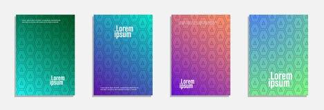 Bunter und moderner Abdeckungsentwurf Stellen Sie vom geometrischen Musterhintergrund ein stockfotografie