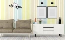 Bunter und moderner Innenraum mit Sofa, verspottet herauf Plakat und Seitentabelle Stockfotografie