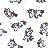 Bunter Unicorn Seamless Pattern lizenzfreie abbildung