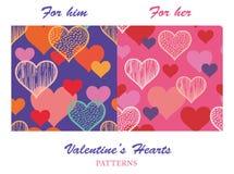 Bunter Valentine Hearts Patterns Stockfotografie