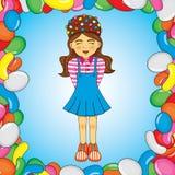 Bunter Vektor der süßen Süßigkeitsmädchen-Karikatur Lizenzfreies Stockfoto