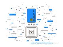 Bunter Vektor des kontaktlosen Lesers EMV-Chipkarte stock abbildung