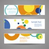 Bunter Vektor-Satz von drei Titel-Designen mit Punkten, Kreise, Ringe Stockbilder