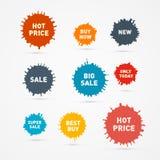 Bunter Vektor-Verkauf befleckt Ikonen Stockfotografie