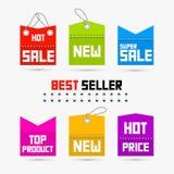 Bunter Verkauf, Rabatt-Tags, Aufkleber Stockfoto