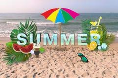 Bunter verzierter Sommertext mit Seeansicht lizenzfreie stockfotos