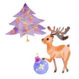 Bunter Vorlagensatz des Weihnachtsbaums mit Dekor und Rotwild Stockbilder