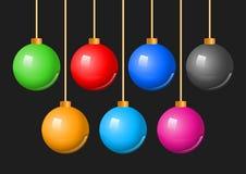 Bunter Weihnachtsball-Flitter-Satz Stockfotos