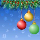 Bunter Weihnachtsball mit Baum auf blauem Hintergrund vektor abbildung