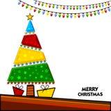 Bunter Weihnachtsbaum für Weihnachtsfeier stock abbildung
