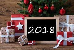 Bunter Weihnachtsbaum, Text 2018 Stockfoto