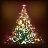 Bunter Weihnachtsbaum und glühende Lichter auf einem Brown-Hintergrund lizenzfreie abbildung