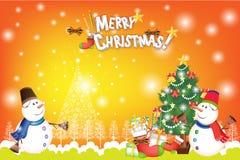 Bunter Weihnachtskartenhintergrund mit Schneemann- und Weihnachtsdekorationen - vector eps10 Lizenzfreie Stockfotos