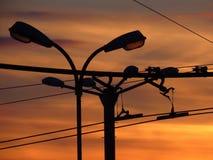 Bunter Wintersonnenuntergang in der Großstadt/in der Stadt Reines Foto Keine Photoshop-Korrektur stockfotos