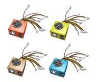 Buntes Abbildungs-Set des Stromversorgungs-Kastens Lizenzfreie Stockbilder