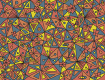 Buntes abstraktes Muster mit vier Fischen und Florenelementen in den desaturated Farben Stockfotos