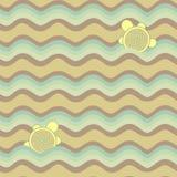 Buntes abstraktes Muster, Wellen und Schildkröten Lizenzfreie Abbildung