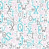 Buntes Alphabet beschriftet nahtloses Muster Stockfotografie