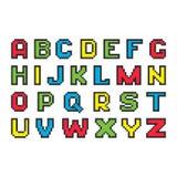 Buntes Alphabet des Pixels Stockfoto