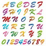 Buntes Alphabet und Zahl Stockfoto