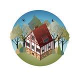 Buntes antikes europäisches Haus Mietlandhäuser Verkauf, Real Estate Frühling Lizenzfreie Stockbilder