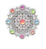 Buntes Aquarell der Mandala mit Juwelsteinen Stockfoto