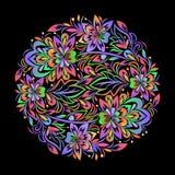 Buntes böhmisches rundes Muster mit Blumen stock abbildung