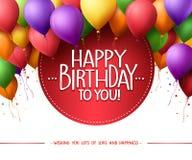 Buntes Bündel von alles Gute zum Geburtstag steigt Fliegen für Partei und Feiern im Ballon auf lizenzfreie abbildung