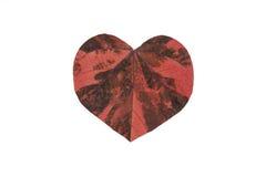 Buntes Blatt als Herzform, lokalisiert auf weißem Hintergrund Zeichen der Liebe Lizenzfreies Stockfoto