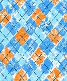 Buntes blaues und orange Schmutzdruck argyle geometrisches kariertes nahtloses Muster, Vektor stock abbildung