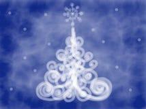 Buntes blaues Weihnachtsbaumgekritzel gezeichnet durch Acrylfarbe, Aquarell und Bleistift Lizenzfreie Stockfotografie
