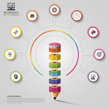 Buntes Bleistift infographics Moderne vektorauslegungschablone Auch im corel abgehobenen Betrag Lizenzfreie Stockfotografie