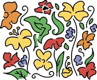 Buntes Blumenmuster Stilisierte Blumen, Anlagen auf dem weißen Hintergrund Gezogenes dekoratives Blumenmuster lizenzfreies stockbild