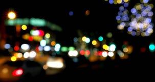 Buntes bokeh von Lichtern auf der Straße nachts 4k stock video