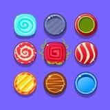 Buntes Bonbon-Blitz-Spiel-Element-Schablonen-Design eingestellt mit runden Bonbons für drei in der Reihen-Art des Videos Lizenzfreies Stockfoto