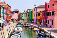 Buntes Burano, Italien Lizenzfreie Stockfotos