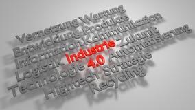 Buntes 3D Industrie 4 0 Wortwolke Stockfotografie