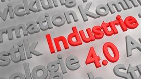 Buntes 3D Industrie 4 0 Wortwolke Stockbilder