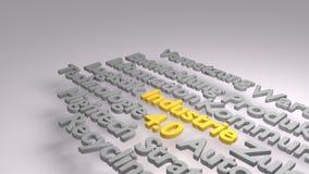 Buntes 3D Industrie 4 0 Wortwolke Lizenzfreie Stockfotografie