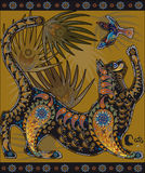 Buntes dekoratives grafisches Bild, eine Katze, die mit einem Vogel spielt Stockfotos