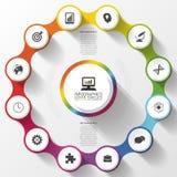 Buntes Design des modernen Wirtschaftskreises Wahlfahne Infographics 12 zwölf Komponenten Auch im corel abgehobenen Betrag Lizenzfreie Stockfotos
