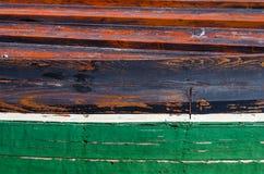 Buntes Detail eines hölzernen Fischerbootes Stockbild