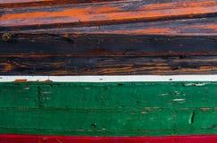 Buntes Detail eines hölzernen Fischerbootes Stockfotografie