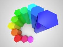 Buntes Diagramm des Hexagons 3d Stockfotos