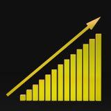 Buntes Diagramm und Pfeil auf einem schwarzen Hintergrund Lizenzfreies Stockfoto