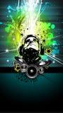 Buntes DJ-Disco-Flugblatt mit Regenbogen-Farben Stockfotos