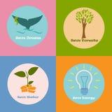 Buntes eco Plakat mit verschiedenen Konzeptionen des Einsparungswassers, -energie, -ozeane und -wälder lizenzfreie abbildung