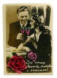 Buntes Foto der Weinlese eines jungen Schönheitspaares Lizenzfreies Stockbild